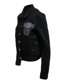 D.D.P. giubbino in jeans nero con asole rosse da donna