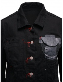 D.D.P. black denim jacket with red buttonholesse for woman womens jackets buy online