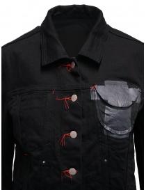 D.D.P. giubbino in jeans nero con asole rosse da donna giubbini donna acquista online