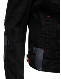 D.D.P. black denim jacket with red buttonholesse for woman buy online price