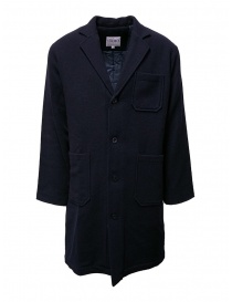 Camo blue padded wool coat AF0032 WOOL NAVY