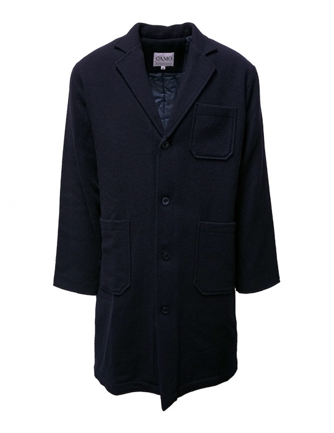 Camo blue padded wool coat AF0032 WOOL NAVY mens coats online shopping
