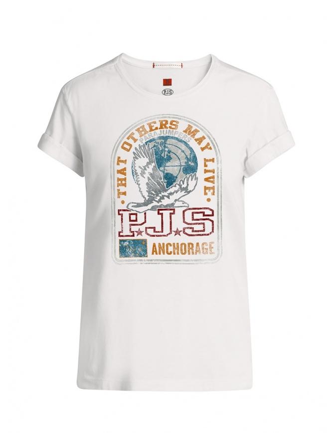 Parajumpers Unique t-shirt bianca con stampa frontale PWFLETS51 UNIQUE WHITE t shirt donna online shopping