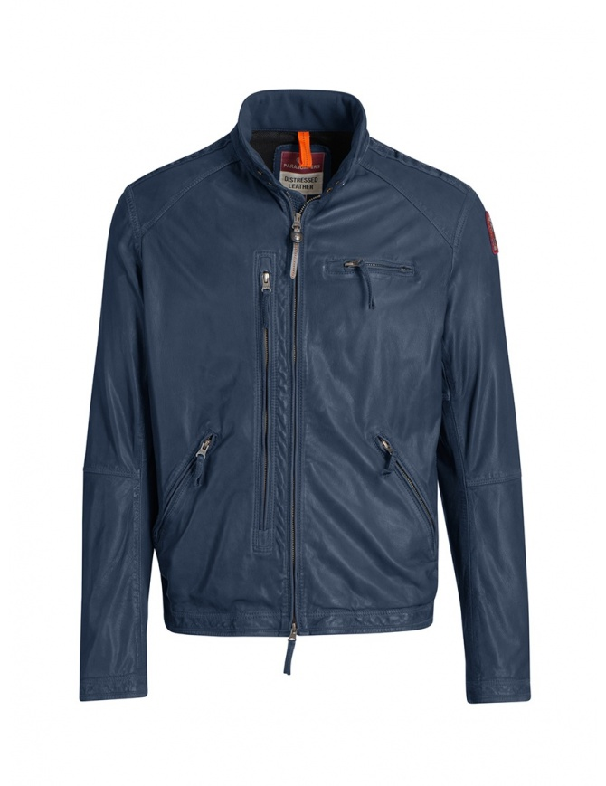 Parajumpers Justin blue lamb leather jacket PMJCKLE02 JUSTIN LEATH.INTERST mens jackets online shopping