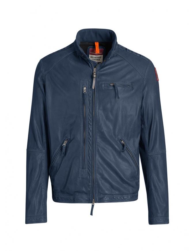 Parajumpers Justin giacca in pelle di agnello blu PMJCKLE02 JUSTIN LEATH.INTERST giubbini uomo online shopping