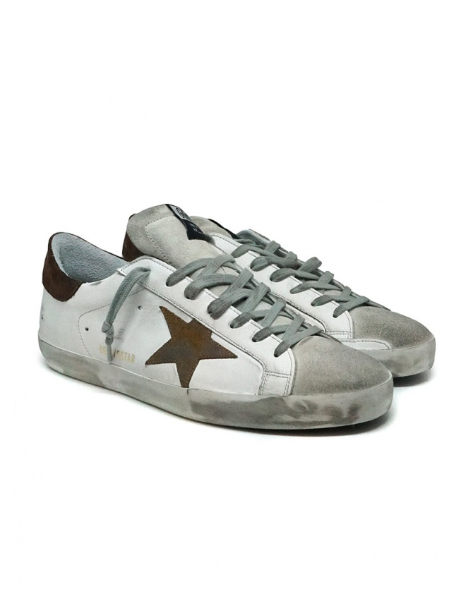 Golden Goose Superstar bianche con stella marrone G36MS590.U61 WHT-BWN STAR calzature uomo online shopping