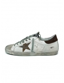 Golden Goose Superstar white sneakers with brown star