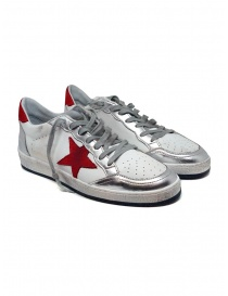 Mens shoes online: Golden Goose Ball Star white red sneaker