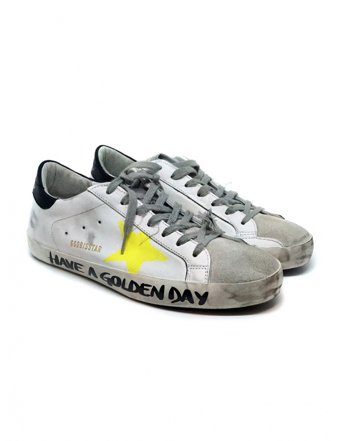 Golden Goose Superstar Have a Golden Day G36MS590.T75 WHT-YEL STAR SIGN calzature uomo online shopping