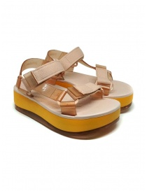Womens shoes online: Melissa Papete Platform + Rider pink and yellow sandals