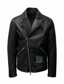 Mens jackets online: D.D.P. Iconic Brand black studded leather jacket