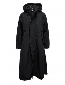 Cappotti donna online: Cappotto Kapital nero con dettaglio fodera a fiori