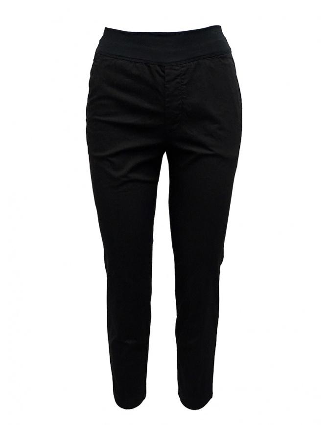 European Culture black elastic waistband pants 065U 3822 1600 womens trousers online shopping