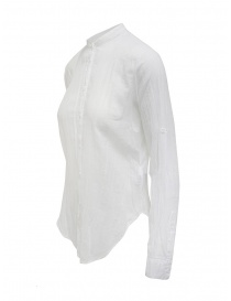European Culture white long-sleeve Mandarin shirt