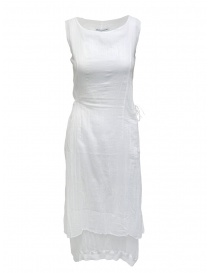 Womens dresses online: European Culture white sleeveless cotton dress