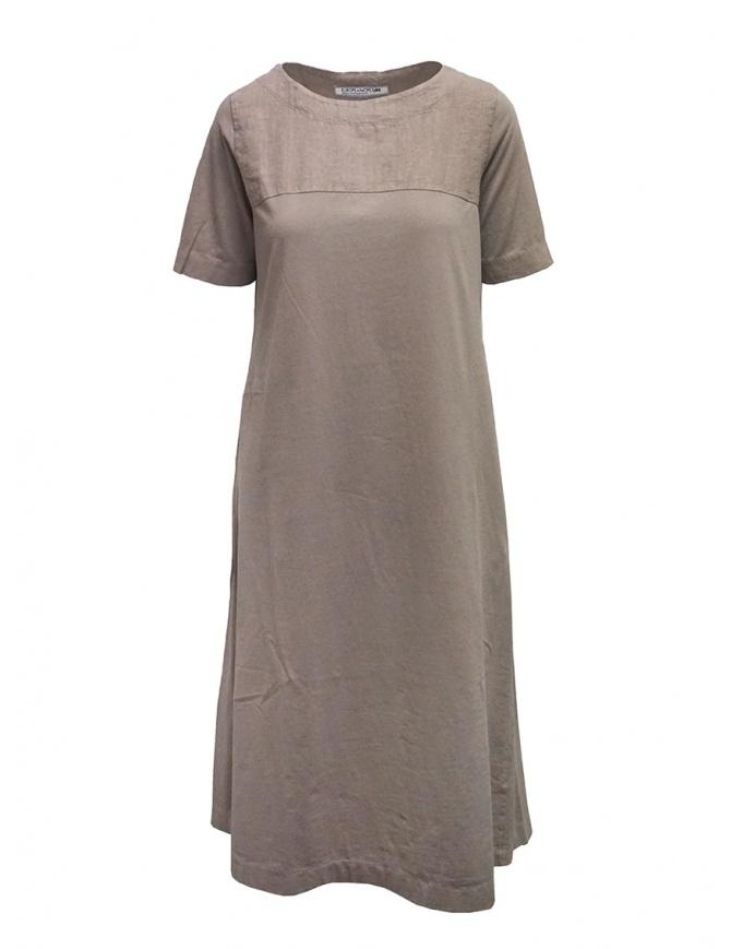 European Culture long beige linen and cotton dress 15A0 2790 1361 womens dresses online shopping