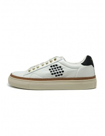 BePositive Anniversary white sneakers with golden eyelets