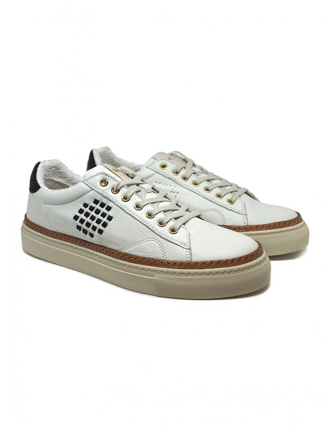 BePositive Anniversary white sneakers with golden eyelets S0ARIA01/LEV WBN mens shoes online shopping