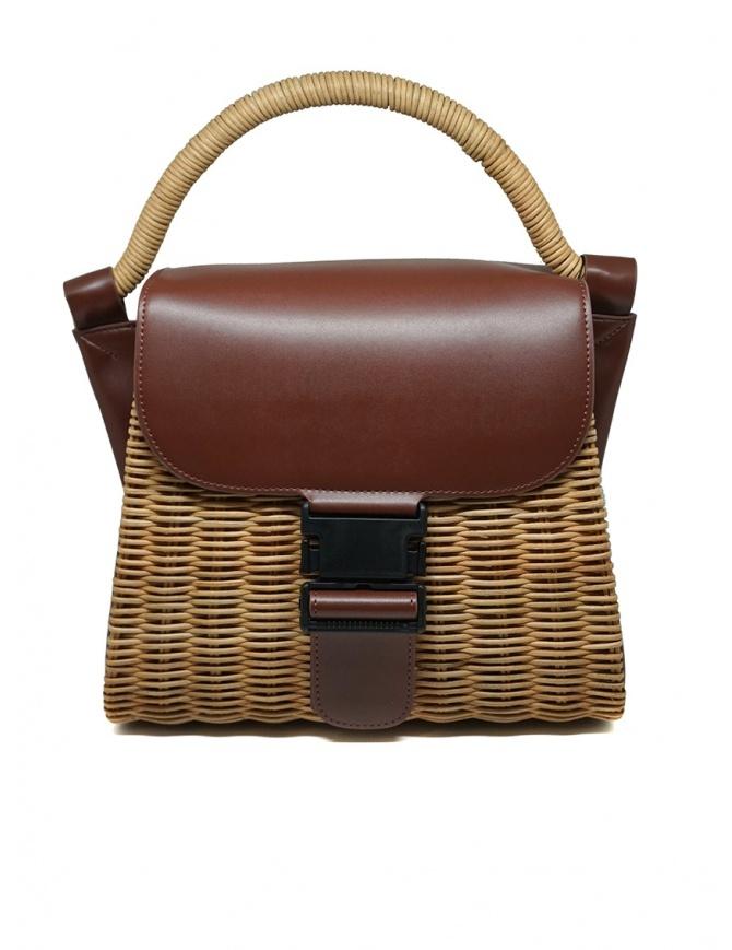Zucca borsa in vimini ed ecopelle marrone ZU07AG125-05 BROWN borse online shopping