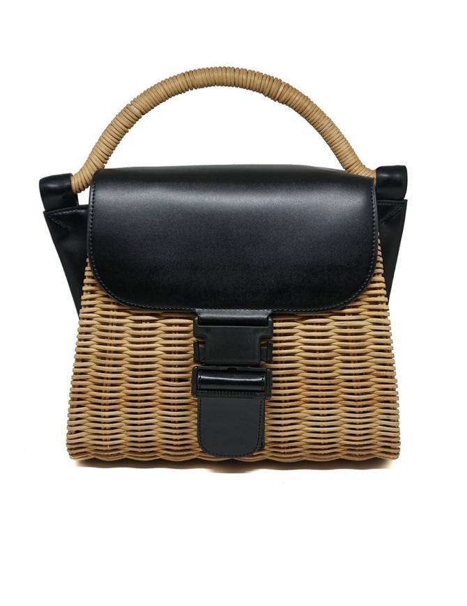 Zucca borsa in vimini ed ecopelle nera ZU07AG125-26 BLACK borse online shopping