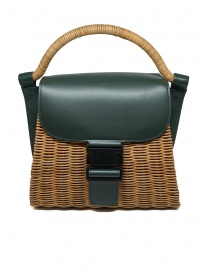 Zucca wicker and green eco-leather bag online