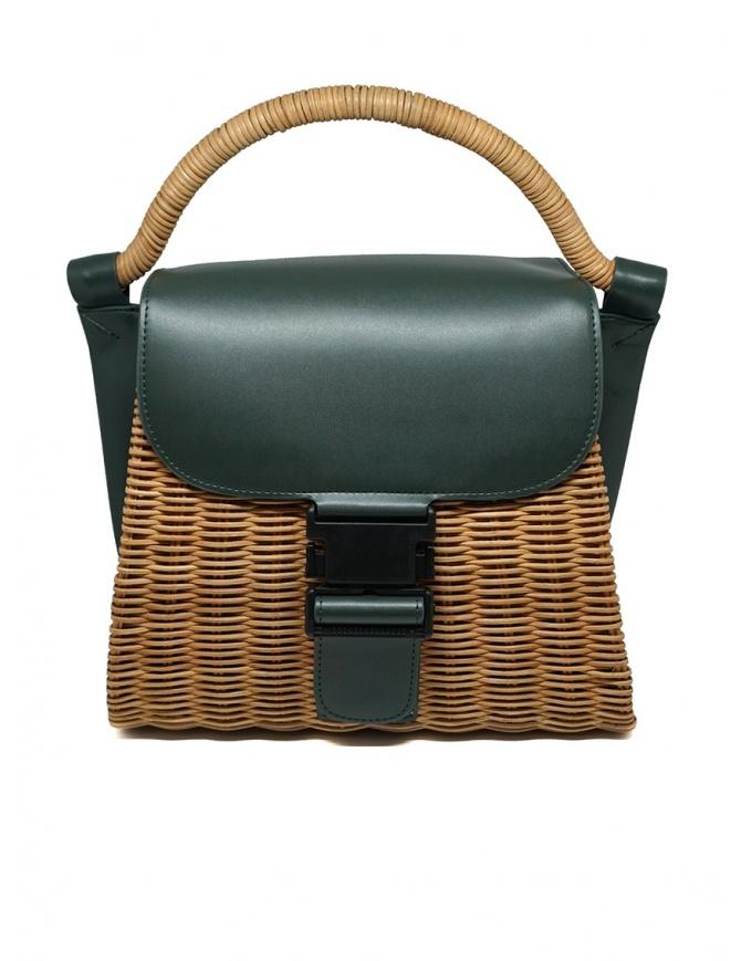 Zucca borsa in vimini ed ecopelle verde ZU07AG125-10 GREEN borse online shopping
