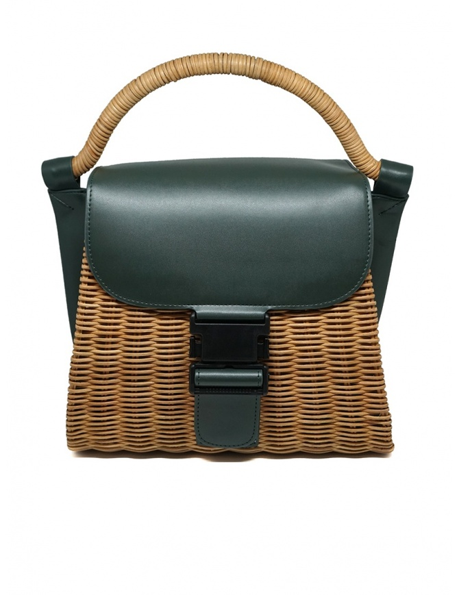 Zucca wicker and green eco-leather bag ZU07AG125-10 GREEN bags online shopping