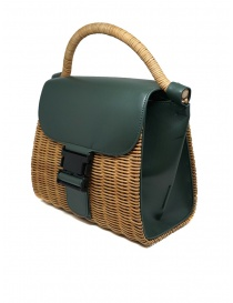 Zucca wicker and green eco-leather bag