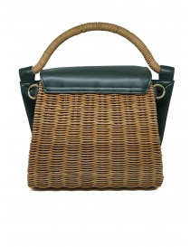 Zucca wicker and green eco-leather bag price
