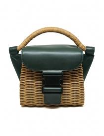 Borse online: Zucca mini borsa in vimini e pelle ecologica verde