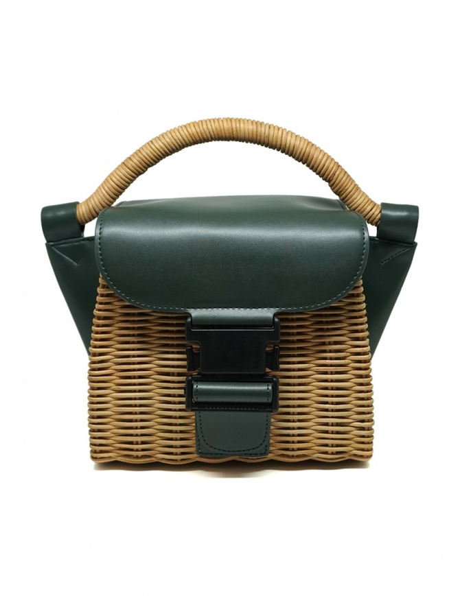 Zucca mini bag in wicker and green ecological leather ZU07AG126-10 GREEN bags online shopping