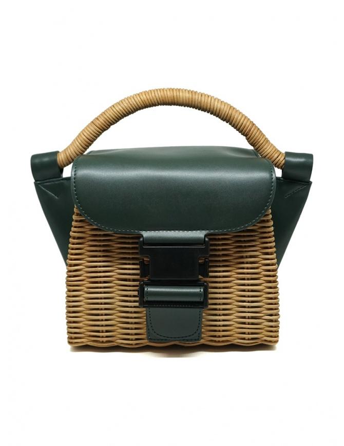 Zucca mini borsa in vimini e pelle ecologica verde ZU07AG126-10 GREEN borse online shopping