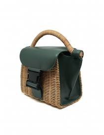 Zucca mini bag in wicker and green ecological leather