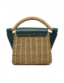 Zucca mini bag in wicker and green ecological leather price
