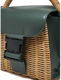 Zucca mini bag in wicker and green ecological leather bags buy online