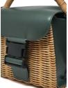 Zucca mini borsa in vimini e pelle ecologica verde ZU07AG126-10 GREEN acquista online