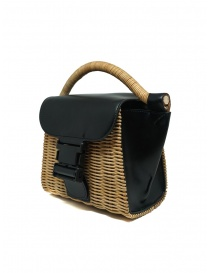 Zucca mini bag in wicker and black eco-leather