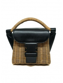 Zucca mini bag in wicker and black eco-leather online