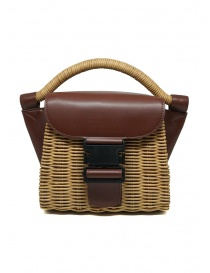 Zucca borsa mini in vimini ed ecopelle marrone online