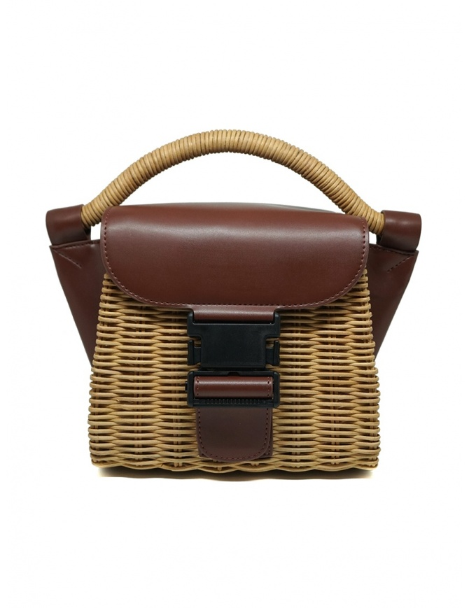 Zucca borsa mini in vimini ed ecopelle marrone ZU07AG126-05 BROWN borse online shopping