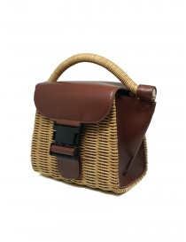 Zucca wicker and brown eco-leather mini bag