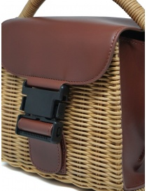 Zucca wicker and brown eco-leather mini bag bags buy online