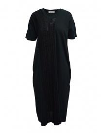 Zucca abito lungo nero con inserto ricamato nero ZU07JH032-26 BLACK order online