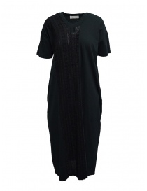 Zucca long black dress with black embroidered insert online
