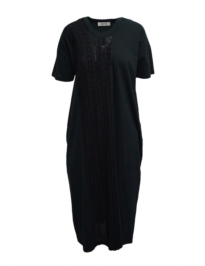 Zucca long black dress with black embroidered insert ZU07JH032-26 BLACK womens dresses online shopping