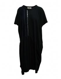 Zucca abito lungo nero con ricamo blu e argento online