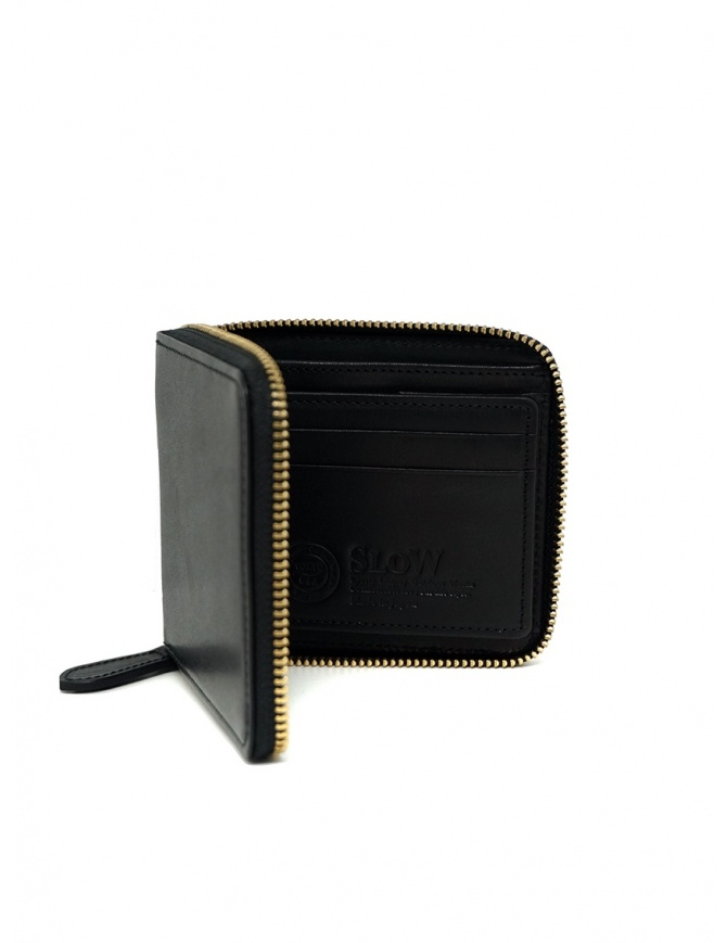 Slow Herbie small square wallet in black leather SO660G HERBIE SHORT BLACK wallets online shopping