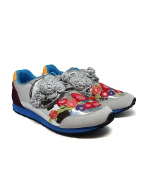 Womens shoes online: Kapital embroidered silver sneakers