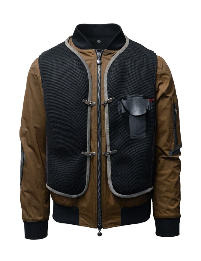 D.D.P. tobacco-colored bomber jacket with black mesh vest MBJ001 BOMBER COT/NYL UOMO mens jackets online shopping