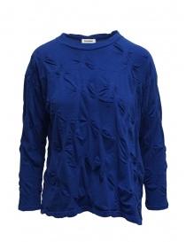 Camicie donna online: Plantation camicia blu con fiori in rilievo